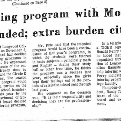 Tutoring program with Moton suspended; extra burden cited