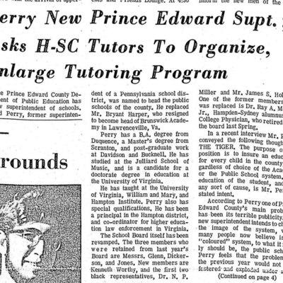 Perry New Prince Edward Supt. ; Asks H-SC Tutors To Organize, Enlarge Tutoring Program