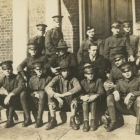 Group Photo of Men in Uniform (in front of Winston Hall?)