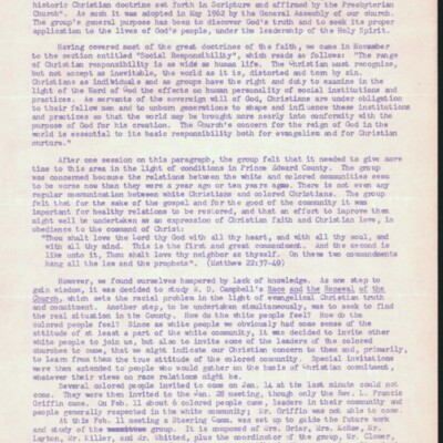 College Presbyterian Church Letter