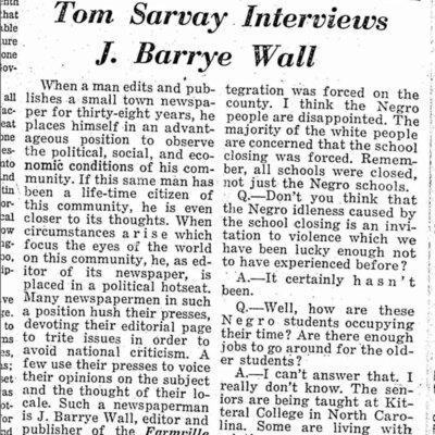 Tom Sarvay Interviews J. Barrye Wall