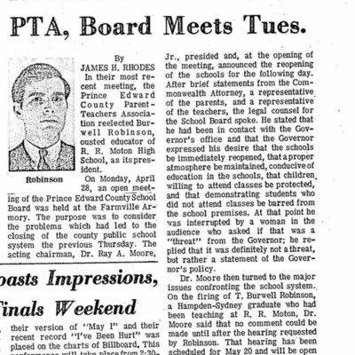 Robinson Reelected to PTA, Board Meets Tues.